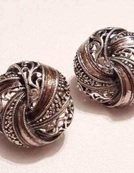 Sterling Silver Marcasite & Enamel Large Round Ornate Stud Earrings