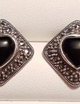 Sterling Silver Marcasite & Onyx Heart Stud Earrings