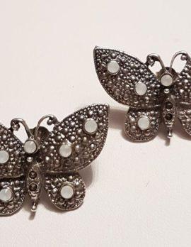 Sterling Silver Marcasite Large Butterfly Stud Earrings