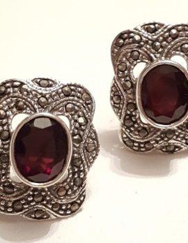 Sterling Silver Marcasite & Garnet Large Stud Earrings