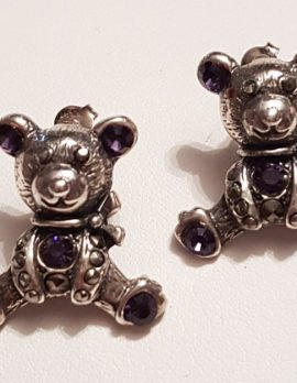 Sterling Silver Marcasite Large Teddy Bear Stud Earrings - Available in Purple or Clear