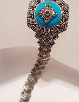 Sterling Silver Marcasite & Recon. Turquoise Ornate Hexagonal Bracelet