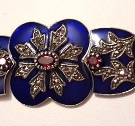 Sterling Silver Marcasite, Blue Enamel & Garnet Ornate Bracelet