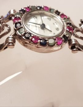 Sterling Silver Marcasite, Emerald, Ruby and Sapphire Watch