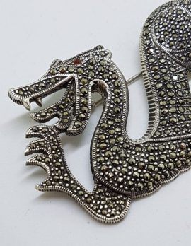 Sterling Silver Marcasite Large Dragon Brooch