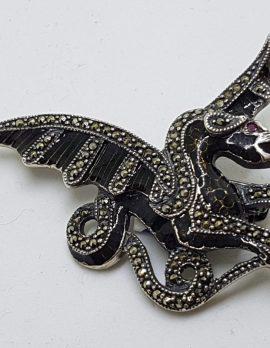 Sterling Silver Marcasite and Black Enamel Dragon Brooch