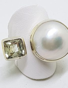 Sterling Silver Green Amethyst / Prasiolite Square with Mabe Pearl Ring