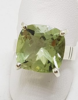 Sterling Silver Green Amethyst / Prasiolite Square Ring