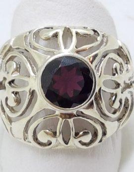 Sterling Silver Garnet Large Round Filigree Ornate Ring