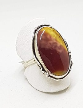 Sterling Silver Large Mookaite Oval Ring