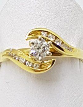 18ct Gold Diamond Swirl Engagement Ring