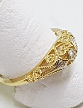 9ct Gold Filigree / Ornate Diamond Ring