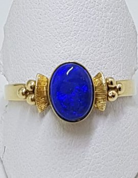 9ct Yellow Gold Oval Blue Opal Ring