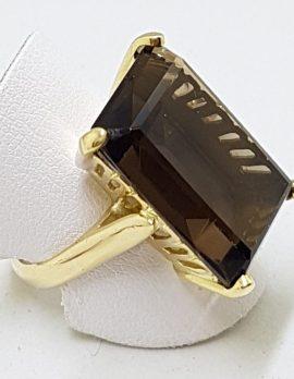 14ct Gold Large Rectangular Smokey Quartz Ring