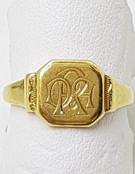 18ct Yellow Gold Octagonal Monogrammed Signet Ring