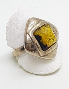 Sterling Silver Green Amber Ring - Square