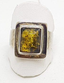 Sterling Silver Green Amber Ring - Rectangular