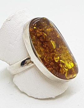 Sterling Silver Large Green Amber Ring