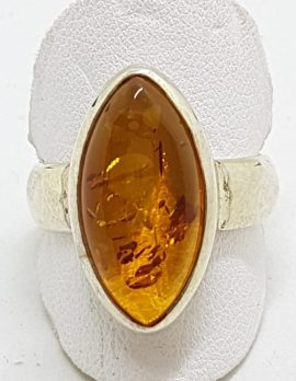 Sterling Silver Amber Ring - Marquis Shape