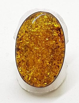 Sterling Silver Large Oval Natural Amber Ring