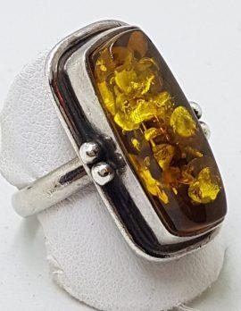 Sterling Silver Rectangular Natural Amber Ring