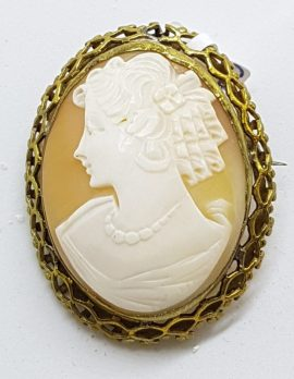 Gold Plated Large Ornate Oval Shell Cameo Brooch