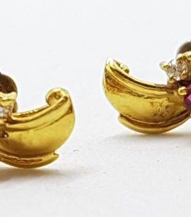 18ct Yellow Gold Ruby & Diamond Stud Earrings