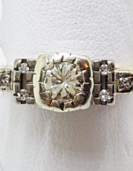 18ct Yellow Gold & Platinum High Set Diamond Ring