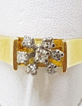 18ct Yellow Gold & Platinum Diamond Cluster Engagement Ring