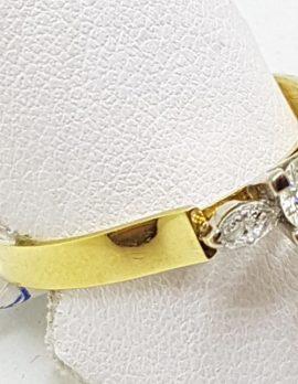 18ct Yellow Gold 3 Diamond Engagement Ring - Large Size