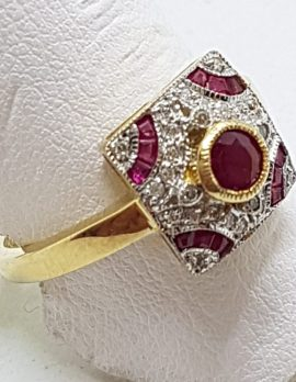 9ct Yellow Gold Natural Ruby and Diamond Square Art Deco Style Ring