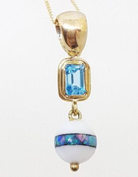 9ct Yellow Gold Opal, Agate and Topaz Handmade Drop Pendant on Gold Chain