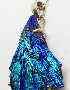 Sterling Silver Black Titanium Kyanite Pendant on Chain - Vibrant Colours - Blue / Green