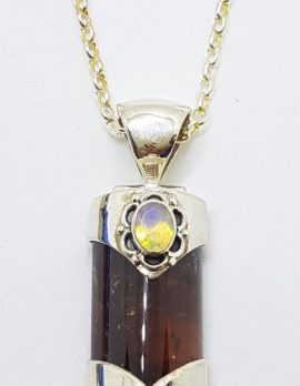 Sterling Silver Opal and Tourmaline Pendant on Sterling Silver Chain