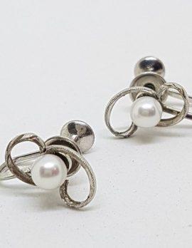 Sterling Silver Mikimoto Pearl Screw-On Earrings - Vintage