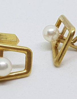 9ct Yellow Gold Mikimoto Pearl Large Cufflinks