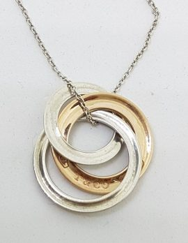 Sterling Silver Vintage Tiffany Two Tone Rings Pendant on Chain