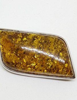 Sterling Silver Natural Amber Leaf Shape Brooch