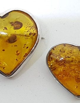Sterling Silver Natural Amber Heart Brooch