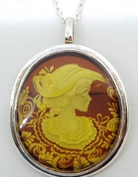 Sterling Silver Natural Amber Carved Lady with Hat Cameo Brooch / Pendant on Sterling Silver Chain