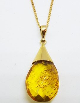 9ct Yellow Gold Faceted Natural Amber Pendant on 9ct Chain