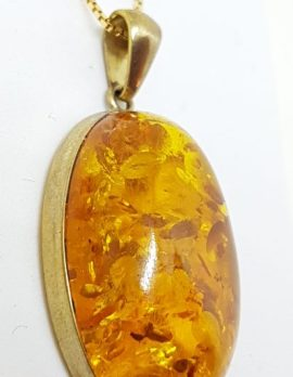 9ct Yellow Gold Natural Amber Large Oval Pendant on 9ct Chain
