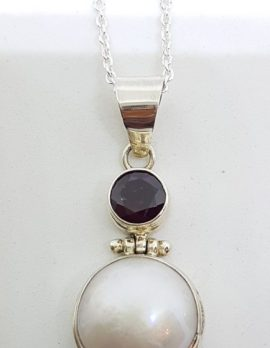 Sterling Silver Mabe Pearl & Garnet Pendant on Chain