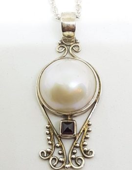 Sterling Silver Mabe Pearl & Square Garnet Ornate Pendant on Chain