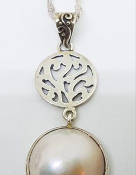 Sterling Silver Mabe Pearl Long Ornate Pendant on Chain