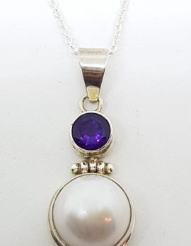 Sterling Silver Mabe Pearl & Amethyst Drop Pendant on Chain