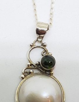 Sterling Silver Mabe Pearl Green Tourmaline Ornate Pendant on Chain