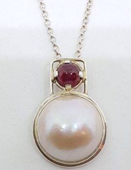 Sterling Silver Mabe Pearl Pink Tourmaline Pendant on Chain