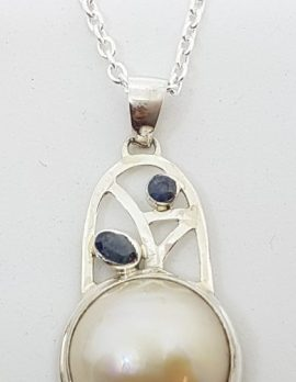 Sterling Silver Mabe Pearl & Sapphire Pendant on Chain