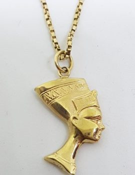 9ct Yellow Gold Egyptian Nefertiti Pendant on Gold Chain